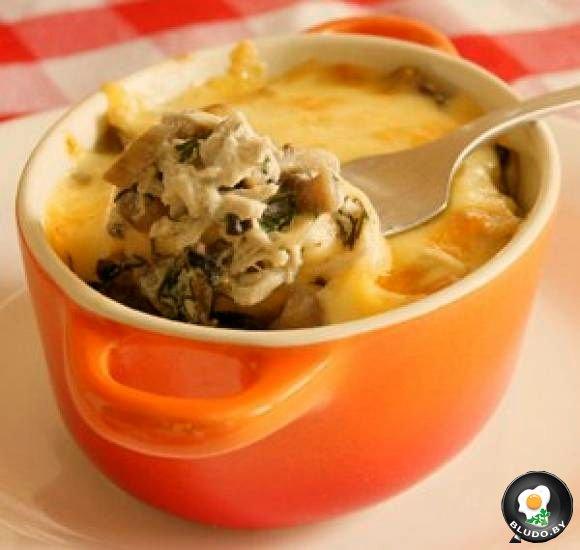 Жульен с курицей и грибами в горшочках рецепт пошагово в