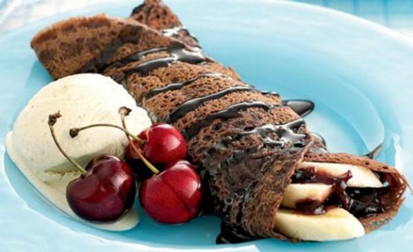 Блины на молоке с бананом и шоколадом рецепт
